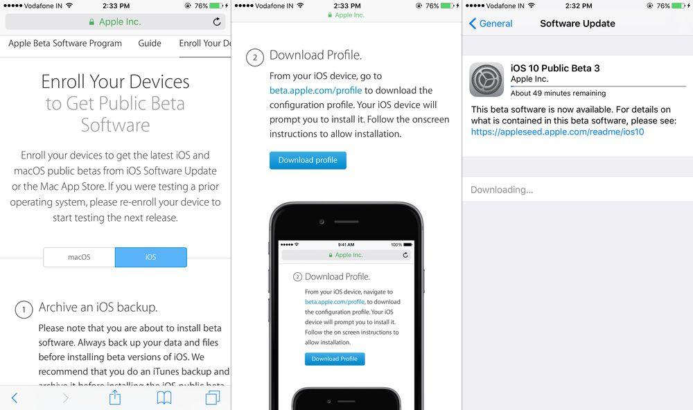 Install iOS 10 Public Beta
