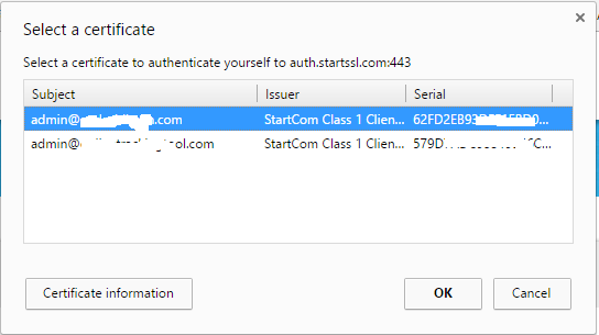 Click on Client Certificate Login then Chrome will ask to select the email address/Certificate which you downloaded in previous step.